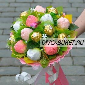 """Букет из конфет №717 """"Розовые тюльпаны"""""""
